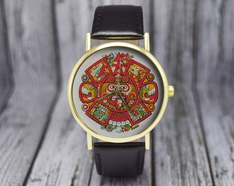 Aztec Calendar Watch | Vintage Style | Leather Watch | Ladies Watch | Men's Watch | Women's Watch | Gift Ideas | Fashion Accessories