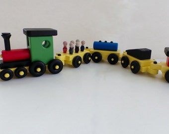 Handmade Wood Train Set-Child Safe Paint-Non Toxic