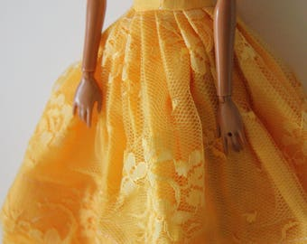 yellow gown for 11.5 inch dolls such as barbie
