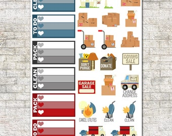 Moving Sticker Set ~ Moving Day, PCS, Military Move, Packing, Boxes, Moving Truck, Garage Sale, Moving Planner
