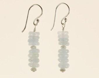 Aquamarine Drop Earrings Christmas Birthday Gift for Her Minimalist Artisan March Birthstone Blue Gemstone Sterling Silver Dangle