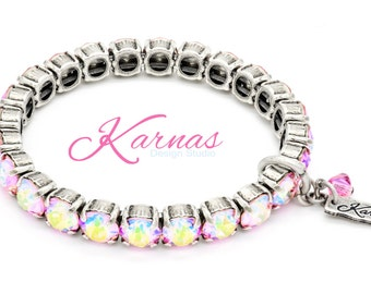 LIGHT ROSE AB 8mm Crystal Chaton Stretch Bracelet Made With Swarovski Elements *Pick Your Finish *Karnas Design Studio *Free Shipping