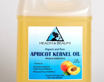 7 Lb, 1 gal APRICOT KERNEL OIL Organic Carrier Cold Pressed 100% Pure