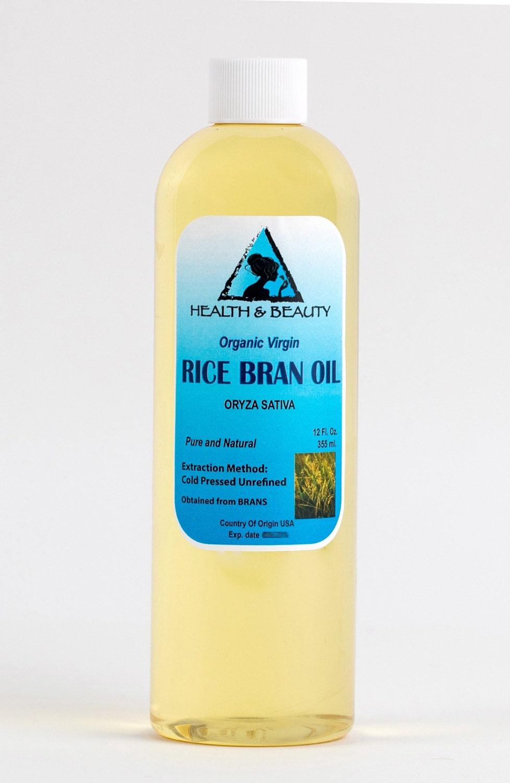 12 oz RICE BRAN OIL Organic Carrier Unrefined Cold Pressed