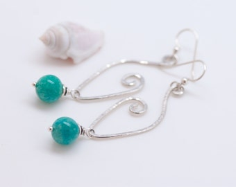 Hammered Sterling Silver and Amazonite Earrings, Long Dangly Earrings, Turquoise Stone Earrings, Silver Hoop Earrings, Natural Stone Earring