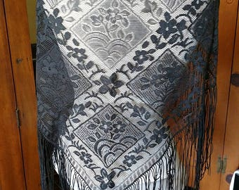 Vintage Scarf hip wrap Black lace fringe Spanish Flamenco style Belly Dance performance Zambramora RETRO BOHO Gypsy Tribal Tribaret Fusion