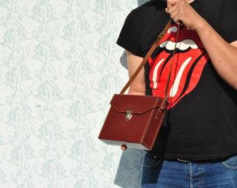Photo bag, camera bag, vintage camera bag, vintage photo bag, leather camera bag, leather photo bag, brown photo bag, small camera bag