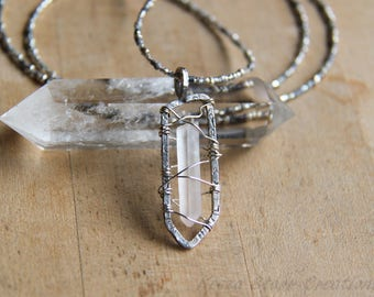 Sterling Silver Quartz Crystal Necklace with Silver and Glass Beadwork
