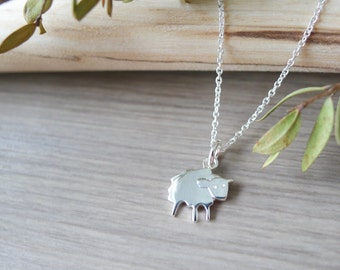 Sterling Silver, Lamb Necklace, Baby Lamb, Mary had a Little Lamb, Sheep Necklace, Baby Sheep, Wool, Farm Animal, Modern Sheep, Petting Zoo