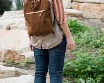 Brown suede backpack, Brown bag, Suede backpack, Women bag,Brown leather backpack