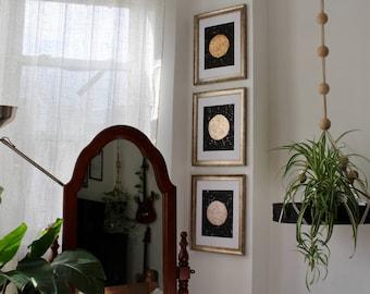Sonne Mond und Sterne - Set von drei Originalgemälde Kunst Metallic Gold Silber Kupfer glänzend goldenen silbrig Tag und Nacht Sky abstrakte Kunstwerke