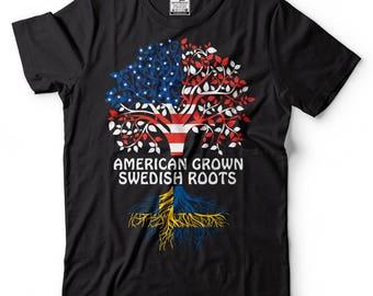 American Grown Swedish Roots T-Shirt American Swedish Patriotic Tee Shirt