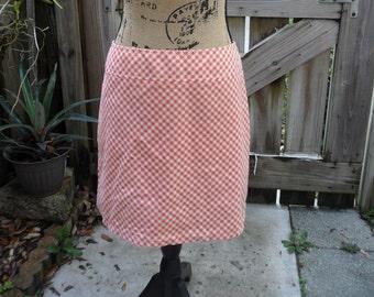 Used Clothes Plaid Mini Skirt Low Rider Checkered Skirt  Cotton Spandex Orange Skirt Summer Clothes Women Orange & White Retro Skirt Size 9