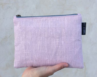 Handsewn Handmade Linen pouch with brass zipper / Case / Clutch / Purse / Cosmetic bag / Pink and Grey