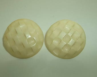 Vintage Estate Early Plastic Celluloid weaved Ivory button Earrings