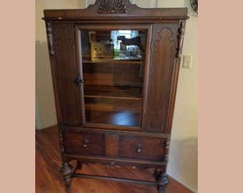 Antique Late 1800's Early 1900's Curio China Cabinet Press Local pickup ONLY in NC