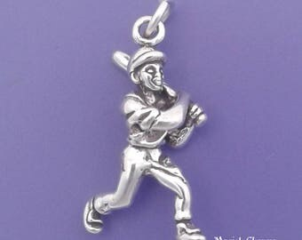 BASEBALL Player With Bat Charm .925 Sterling Silver Pendant - lp2335