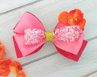 Elena of Avalor Inspired Bow, Princess Elena of Avalor Hair Clip, Elena Birthday, Elena Bow, Elena costume, Red Hair Bow, Pink Hair Bow