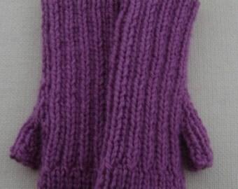 Fingerless Mittens - Lilac/Cream