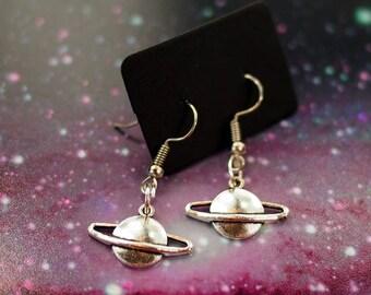 Planet Earrings, Saturn Earrings Galaxy Jewelry Geeky Gifts, Space Jewelry Dainty Earrings, Space Earrings, Pastel Goth Clothing Space Gifts