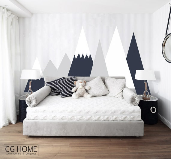 Entire Wall Protection MOUNTAIN Covering Wall Decal Mountains Customized Personalized Washable Headboard Sticker Nursery Decor