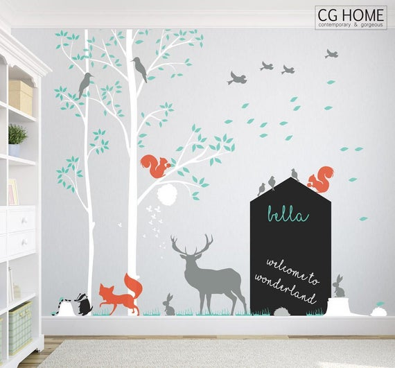 Baby Nursery Wall Decal WOODLAND Wall Sticker DEER and TREE Forest Kids Birds Animals Removable Decoration Chalkboard Sticker