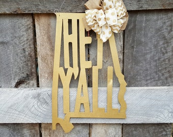 Hey Y'all Door Hanger - Alabama Door Hanger - State Shape Wreath - Southern Door Decor - Southern Saying - Wall Hanging - Wedding Gift