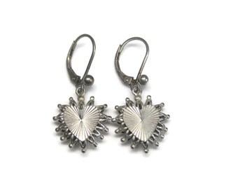 Vintage Sterling Dangle Heart Earrings