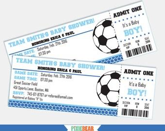 Soccer Baby Shower Invitation - Soccer Baby Shower - Soccer invitation - Soccer Ticket invitation - Blue Baby Shower Boy (Instant Download)