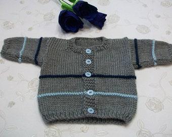 Newborn Cardigan, 0 to 3 Months Gray Baby Sweater, Gray Knitted Baby Cardigan,  Newborn Gray Sweater