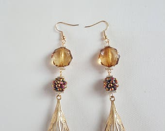 Amber Color Bead Chandelier Earrings//Gift for Her//Gift for Women