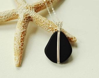 Black sea glass necklace wire wrapped necklace black pendant seaglass jewelry sea glass pendant