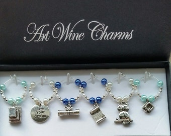 6 Graduation (1) Themed Wine Charms, University, College, Graduate, Themed Party, Party Favors, Diploma, Graduation Party