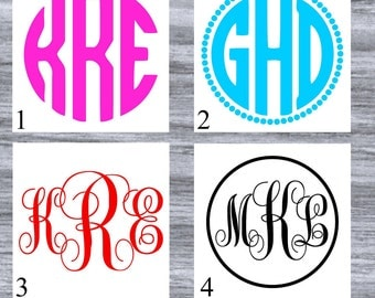 Monogram Decal - Vinyl Decal Initials - Monogram Sticker - Laptop Decal - Custom Cup Decal - Car Decal
