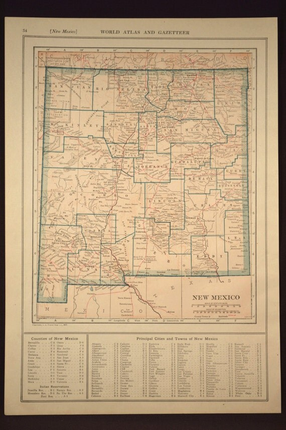 New mexico map new mexico antique railroad original state like this item gumiabroncs Image collections