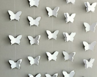 Butterfly Garland - Wedding Backdrop - Wedding Backdrop Curtain - Bridal Shower - White Butterflies - Wedding Garland - Baby Shower Decor