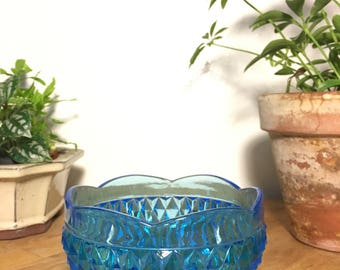Blue Glass Footed Bowl // Vintage / Diamond / Aqua / Scalloped Edge