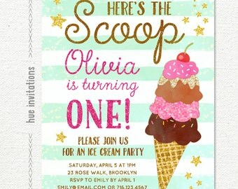 ice cream first birthday invitation for girl, here's the scoop mint stripes pink glitter, ice cream social birthday party invitation