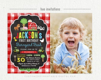 farm first birthday invitation for boys, barnyard bash 1st birthday party invitation with photo, red barn tractor cow pig, printable file