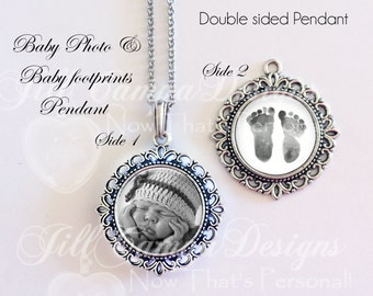 BABY FOOTPRINT NECKLACE - your Baby's actual footprints - Baby Footprint Jewelry - baby photo necklace- double sided pendant - your baby
