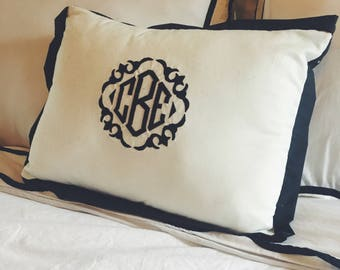 Embroidered Trimmed Monogram Throw Pillow Monogrammed Pillow with Design Couch Pillow Bedding Pillow
