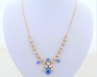 Vintage Clear and Sapphire Blue Rhinestone Gold Tone Chain Necklace