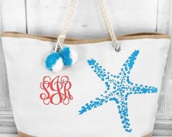 Monogram Starfish Beach Bag with Pom Poms
