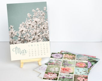 2017 Desk Calendar - Gift for Her - Floral Photography Calendar - With or Without Easel - 5x7 Flower Photo Calendar - Home Office Decor