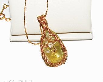 Sunshine Vial pendant, citrine pendant, fantasy jewelry, wire wrapped, yellow and gold jewelry, gemstone jewelry, elvish jewelry, cosplay