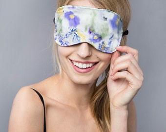 Eye Mask - Blue Eyemask - Satin Eye Mask - Floral - Luxury - Silk - Gift for Mothers - Sleep Mask