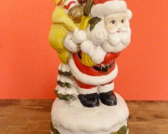 Vintage Ceramic Santa Claus Music Box - Plays Santa Clause is Coming to Town