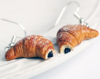 Croissant earrings miniature food jewelry Parisian Pastries French croissant chocolate Croissant yummy