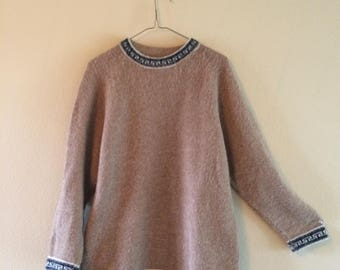 Vintage Oatmeal Colored Alpaca Wool Sweater
