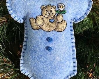 Wool Felt Bear Onesie Ornament Hanger in Sapphire Blue